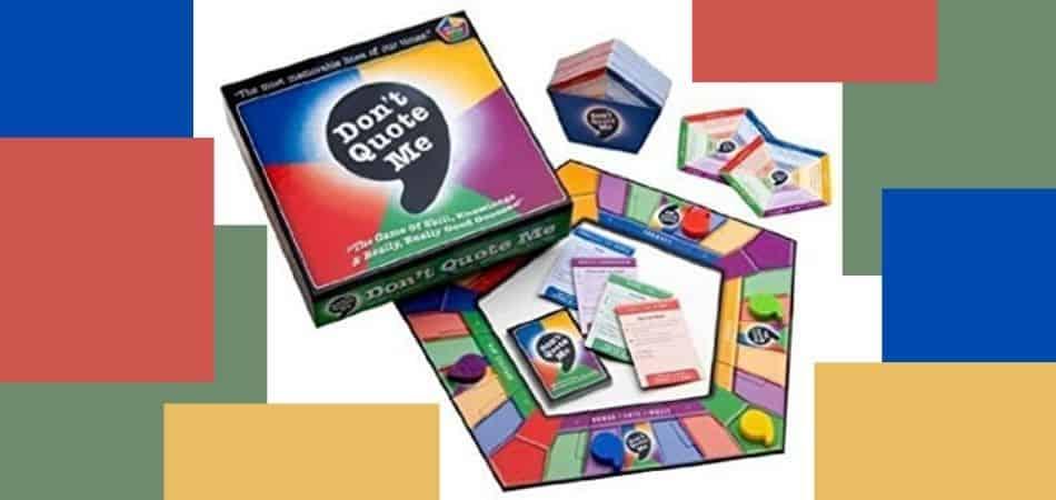 Don't Quote Me Trivia Board Game Box and Board Setup