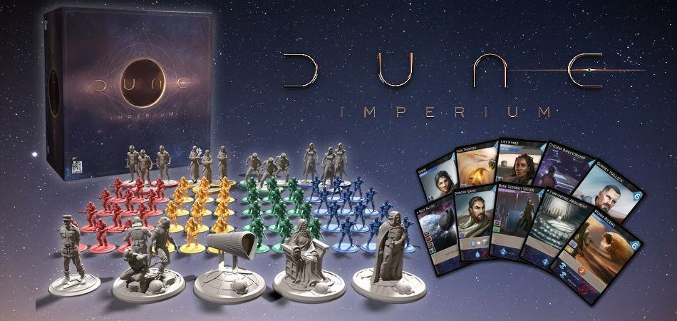 Dune: Imperium board game box, cards, and miniatures