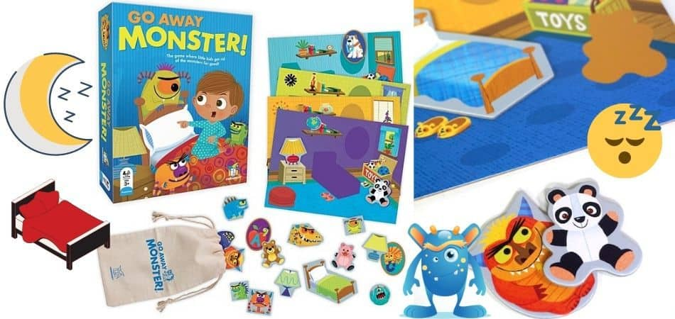 Go Away Monster Kids Board Game Box and components