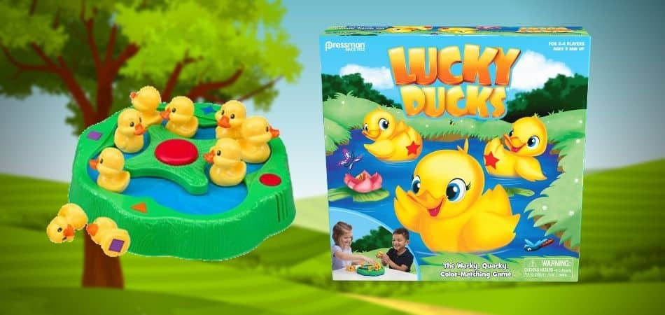 Lucky Ducks Kids Board Game Box and Parts