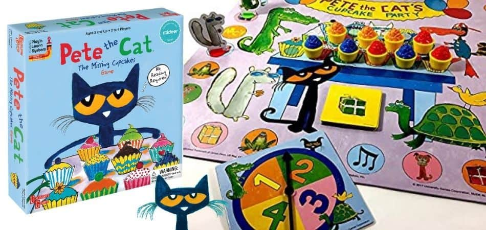 Pete the Cat The Missing Cupcakes Kids board Game Box and Board