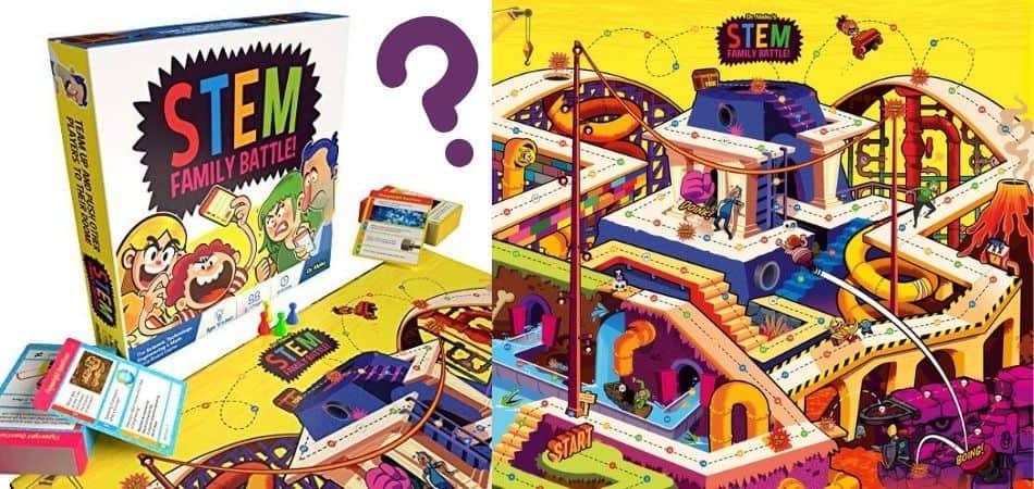 STEM Family Battle Trivia Board Game Box and Board