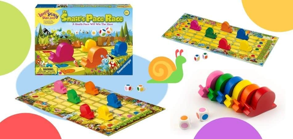 Snail's Pace Race Kids Board Game Box and Components