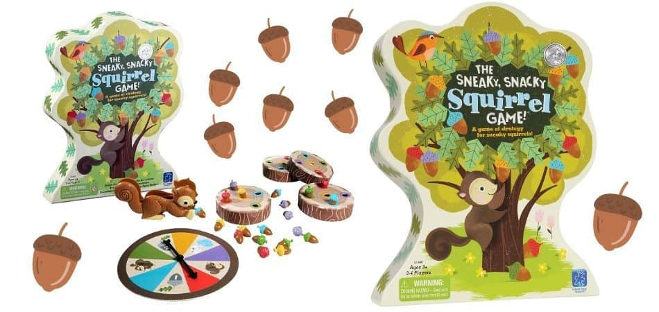 The Sneaky, Snacky Squirrel Kids Board Game Box and Components