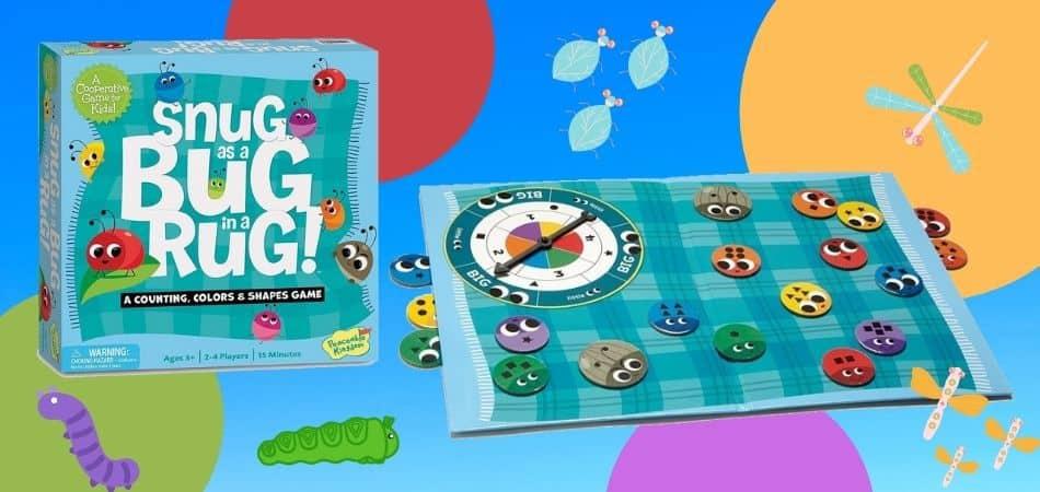 Snug as a Bug in a Rug Kids Board Game Box and Board
