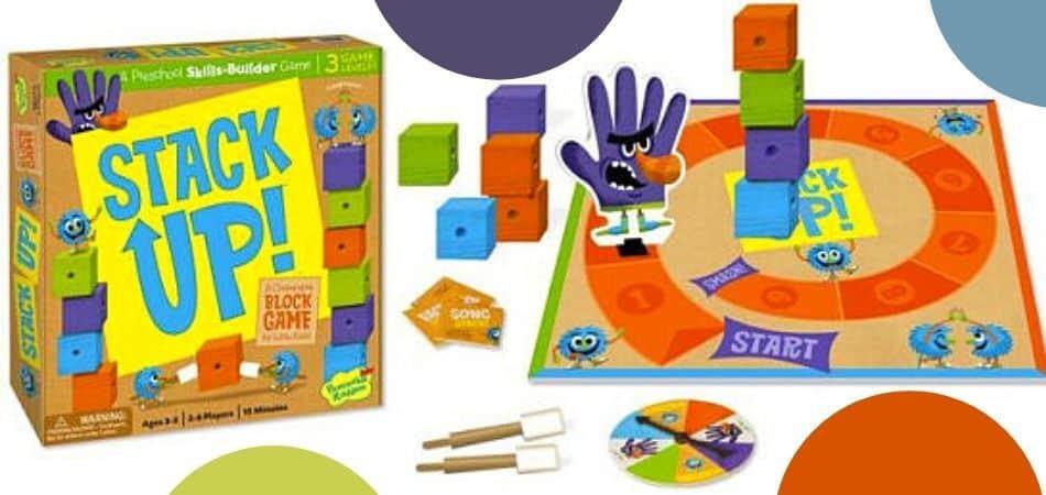 Stack Up Kids Board Game Box and Board Setup