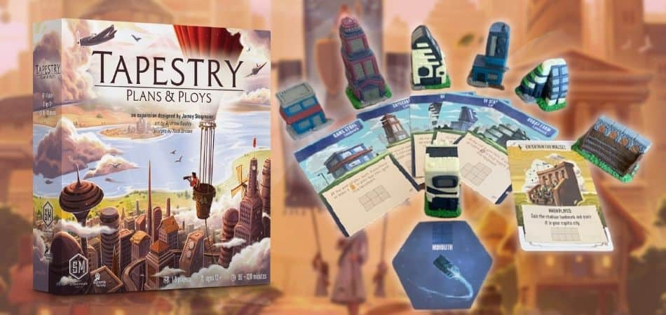Tapestry Board Game Expansion Plans and Ploys Box and Components