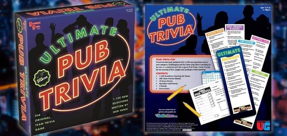 Ultimate Pub Trivia Board Game Box and Reverse