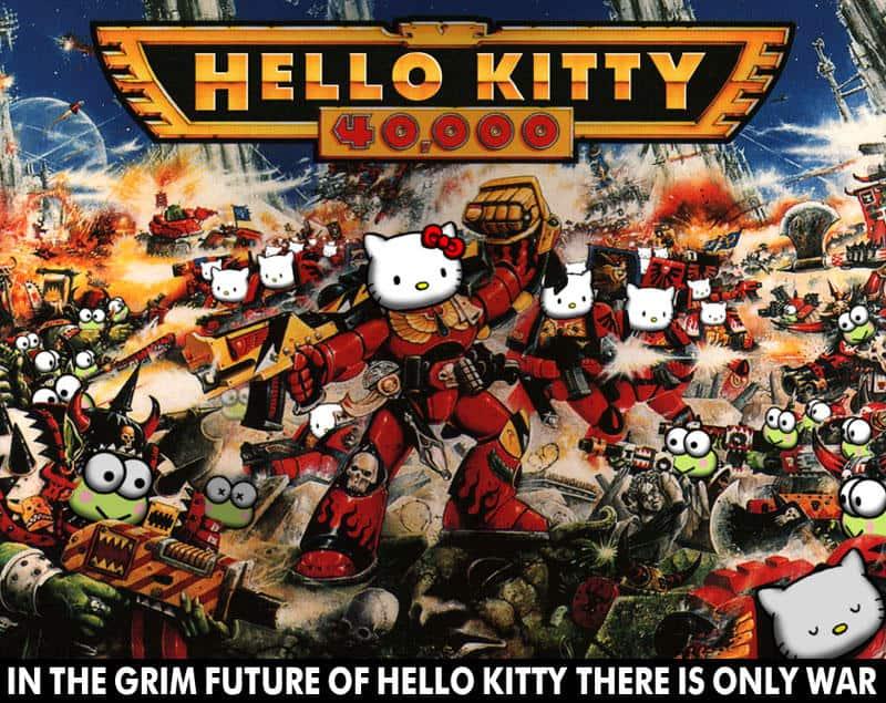 Hello Kitty spoof of Warhammer 40K poster art