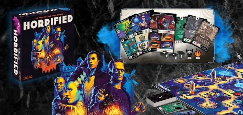 Horrified Board Game Box and Components