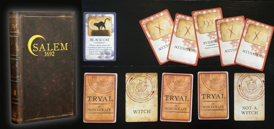 Salem 1692 Board Game Box and Cards