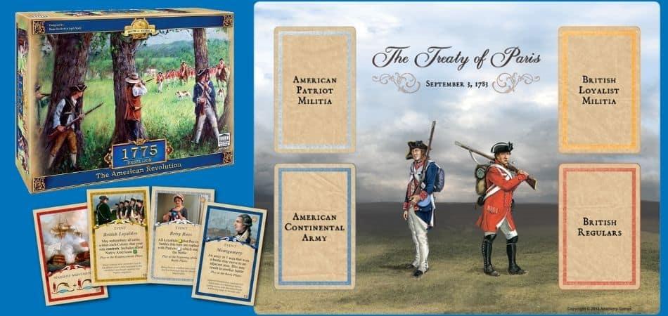 1775 Rebellion Board Game Treaty Board, Box, and Cards