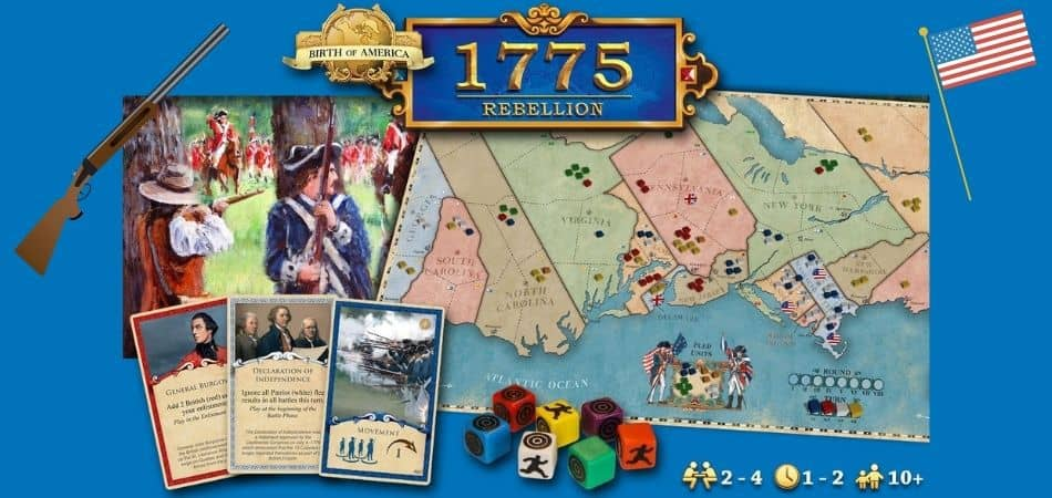 1775 Rebellion Board Game Board, Cards, and Dice