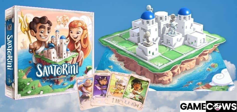 Santorini Board Game Box, Board, and Cards