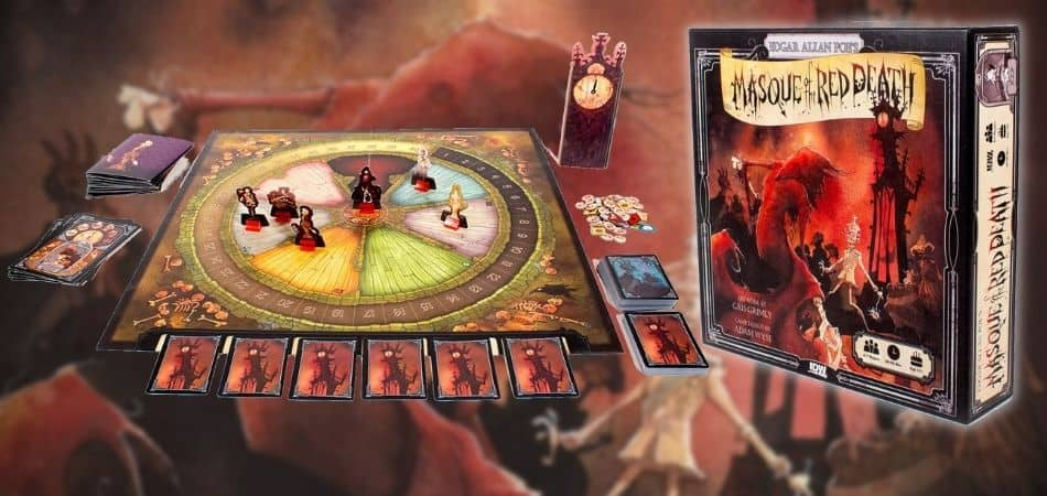 Masque of the Red Death Board Game Box and Components